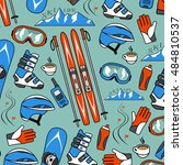 winter sports collection pattern | Shutterstock .eps vector #484810537