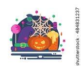 halloween party concept in flat ... | Shutterstock .eps vector #484831237
