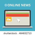 laptop with online news on the...