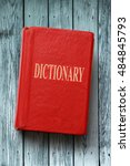old red dictionary on the... | Shutterstock . vector #484845793