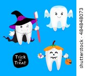 halloween concept of teeth set. ... | Shutterstock .eps vector #484848073