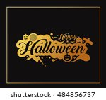 happy halloween party greeting... | Shutterstock .eps vector #484856737