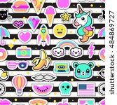 fashion chic patches  pins ... | Shutterstock .eps vector #484869727
