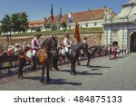Small photo of Alba Iulia, Romania - July 24, 2016: Tourists watch the changing of guards, a unique military ceremony in Transylvania, at the third gate of Alba Carolina Citadel.