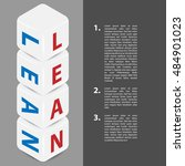 four cubes with title lean and... | Shutterstock .eps vector #484901023