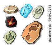 A Set Of Footprints Of Fossil...