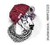 portrait of a dog doberman in a ... | Shutterstock .eps vector #484912123