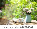 flowers with vintage pot and... | Shutterstock . vector #484924867