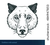 illustration with wolf head ... | Shutterstock .eps vector #484947853