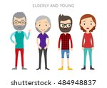 diverse vector people set. men... | Shutterstock .eps vector #484948837