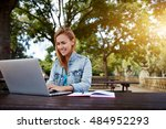gorgeous female student with... | Shutterstock . vector #484952293