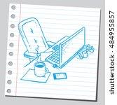 office desk  coffee break... | Shutterstock .eps vector #484955857