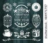 christmas decorations ... | Shutterstock .eps vector #484971757