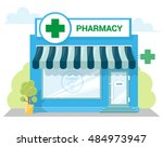 facade pharmacy store with a... | Shutterstock .eps vector #484973947