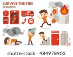 how to survive from fire. | Shutterstock .eps vector #484978903