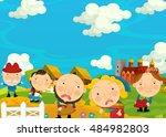cartoon scene   with farm...   Shutterstock . vector #484982803