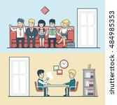 linear flat hr manager talks... | Shutterstock .eps vector #484985353