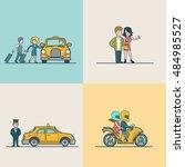 flat modern couple catching cab ...   Shutterstock .eps vector #484985527
