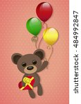the teddy bear flies on... | Shutterstock .eps vector #484992847