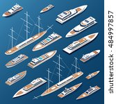 isometric flat yachts and boats ... | Shutterstock .eps vector #484997857
