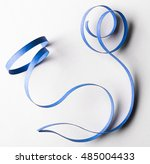 curved blue paper ribbon on a... | Shutterstock . vector #485004433