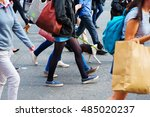 crowd of people crossing a... | Shutterstock . vector #485020237