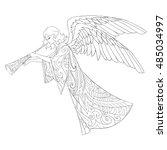 christmas angel doodle lineart... | Shutterstock .eps vector #485034997