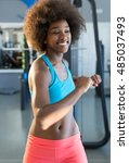 young african female in a gym... | Shutterstock . vector #485037493
