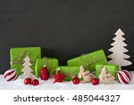 red and green christmas... | Shutterstock . vector #485044327