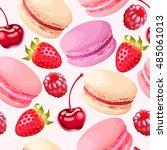 seamless macaron and berries | Shutterstock .eps vector #485061013
