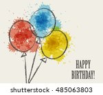 card with colored watercolor... | Shutterstock .eps vector #485063803