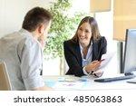 boss showing a good job... | Shutterstock . vector #485063863