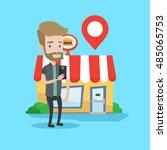 hipster man holding smartphone... | Shutterstock .eps vector #485065753