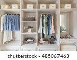 modern wooden wardrobe with... | Shutterstock . vector #485067463