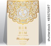 wedding invitation or card with ... | Shutterstock .eps vector #485070397