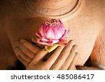 lotus in the hands of sandstone ... | Shutterstock . vector #485086417