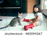 little cute girl playing with... | Shutterstock . vector #485094367