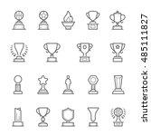 trophy awards vector outline... | Shutterstock .eps vector #485111827