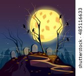 halloween background graveyard... | Shutterstock .eps vector #485116633