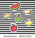 cute cartoon patch collection | Shutterstock .eps vector #485117053