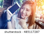 beauty asian girl smiling and... | Shutterstock . vector #485117287