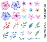 hand drawn in watercolor floral ... | Shutterstock . vector #485130433