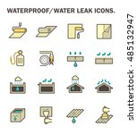 waterproofing and water leaked... | Shutterstock .eps vector #485132947