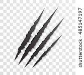 claw scratch mark. vector bear... | Shutterstock .eps vector #485147197