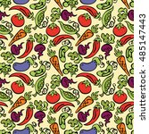 vegetables  tomatoes  eggplant  ... | Shutterstock .eps vector #485147443