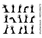 set of silhouettes of zombie... | Shutterstock .eps vector #485148673