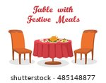 Cartoon Festive Meals On Serve...
