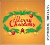 merry christmas hand lettering...   Shutterstock .eps vector #485151793
