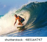 picture of surfing a wave... | Shutterstock . vector #485164747