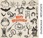vector set of sketch halloween... | Shutterstock .eps vector #485165653